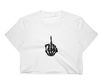 89e99f99207b8 Skeleton Hand F    You Middle Finger Emo Goth Metal Women s Crop Top