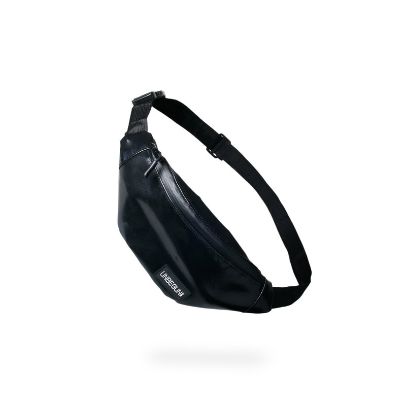 edde182ebb Sustainable black fanny pack made from upcycled Amsterdam