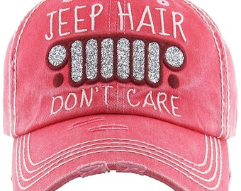 9de7722a Jeep Hair Don't Care Distressed Hot Pink Hat, Jeep Hat, Jeep Hair Don't  Care Cap, Jeep Hat