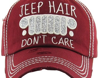Jeep Hair Don t Care Distressed Burgundy Hat 3be4be454487