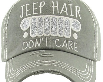 89eb4e82 Jeep Hair Don't Care Distressed Gray Hat, Jeep Hat, Jeep Hair Don't Care Cap,  Jeep Hat
