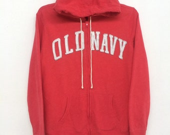 04697e0a3e3 Vintage Old Navy Sweatshirt Hoodies Full Zipper Big Logo Spellout Size (L)
