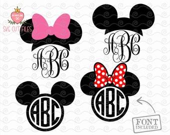 Mickey and Minnie Mouse Monogram SVG / Vinyl Cutting File / Minnie DXF / Disney SVG, Mickey Silhouette, Digital File, Cricut, Disney Svg,Dxf