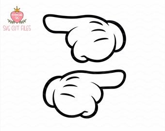 Mickey Mouse Hands SVG / Minnie Mouse Hands pointing SVG /  instant download / Gloved Hands / Cricut Cut Files / Silhouette Cut Files