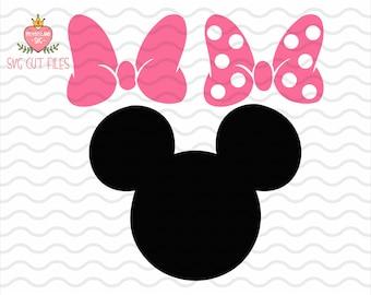Minnie Mouse SVG / Minnie mouse head SVG / Minnie Mouse Bow SVG / Minnie Mouse Cut File / Instant download design for cricut or silhouette