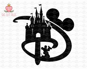 Disney D Castle Mickey SVG / Disney DXF, Mickey Silhouette, Digital Download / TShirt, Cut File, Iron on, Transfer, Digital File, Cricut