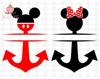 Anchor Split Mickey Head SVG / Mickey Monogram Svg / Minnie Mouse svg/ Disney Digital Cut / Instant download design for cricut or silhouette