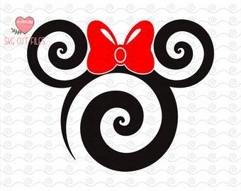 Swirly Minnie Head SVG / Swirl Disney Svg Minnie DXF / Swirl Minnie SVG / Swirl Mouse Svg / Instant download design for cricut or silhouette