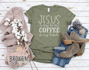 f63d73da840 Christian T Shirts Women Plus Size Christian Bella Canvas Short Sleeve Tee  Heather Olive Jesus In My Heart Coffee In My Hands White