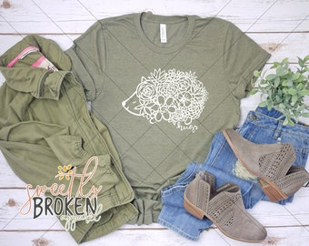 6062d1e2e Christian T Shirts Women / Faith Shirts / Christian Apparel / Plus Size  TShirts / XS-4XL / Floral Hedgehog Hugs White