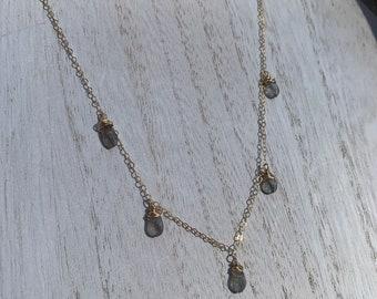 Labradorite layered necklace