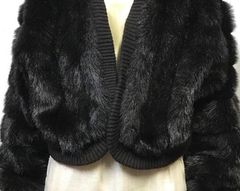 145536a77504a Items similar to Vintage Faux Fur Jacket 70s Vintage Black Fur ...