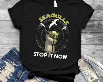 fdeb7112 Seagulls Stop It Now Beach Funny Cute t-shirt Seagull T-Shirt