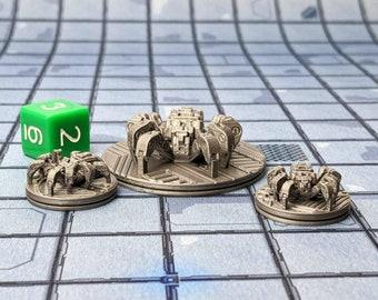 Mechanical Robot Spiders (Set of 3) Miniatures Cyberpunk Warhammer Starfinder 28mm 32mm Wargaming Sci-Fi RPG Tabletop Games