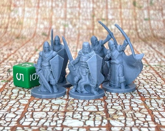 Townsfolke Military (Set of 5) Dungeons and Dragons Miniatures (D&D DnD) 28mm 32mm Wargaming Fantasy RPG Tabletop Games