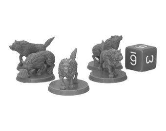 Wolf Pack (Set of 5) Dungeons and Dragons Miniatures (D&D DnD) 28mm 32mm Wargaming Fantasy RPG Tabletop Games
