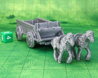 Horse and Wagon Cart Set Dungeons and Dragons Scatter Terrain (D&D DnD) 28mm 32mm Wargaming Fantasy RPG Tabletop Games