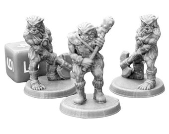 Bugbear Warriors (Set of 3) Dungeons and Dragons Miniatures (D&D DnD) 28mm 32mm Wargaming Fantasy RPG Tabletop Games