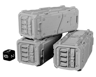 Shipping Containers (Set of 2) Warhammer Scatter Terrain Cyberpunk Warhammer Starfinder 28mm 32mm Wargaming Sci-Fi RPG Tabletop Games