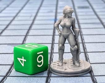 Octavia the Assassin Miniature Cyberpunk Warhammer Starfinder 28mm 32mm Wargaming Sci-Fi RPG Tabletop Games