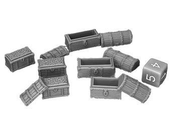 Chest Set Dungeons and Dragons Scatter Terrain (D&D DnD) 28mm 32mm Wargaming Fantasy RPG Tabletop Games