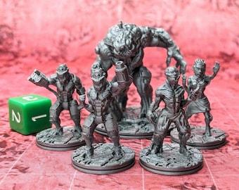 Alien Hive Mutants (Set of 5) Miniatures Cyberpunk Warhammer Starfinder 28mm 32mm Wargaming Sci-Fi RPG Tabletop Games