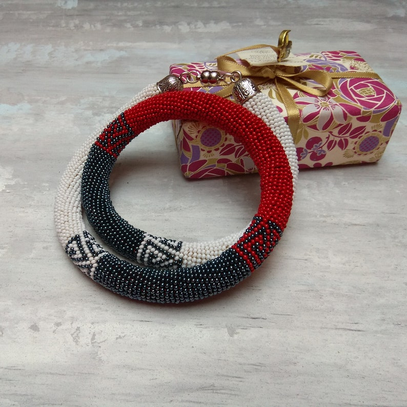Asphalt grey red and white striped minimalist geometric crochet beaded necklace Unique office and casual style rope Stepmom gift idea