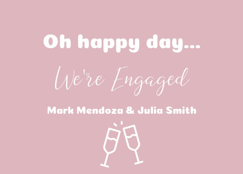 PDF Pink and White Champagne Engagement Announcements