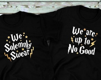 9db00bf5 Couples shirts, We Solemnly Swear We Are Up To No Good GOLD, His and Hers  Shirts, Wizarding Trip, Gift for her, Gift for him, Honeymoon