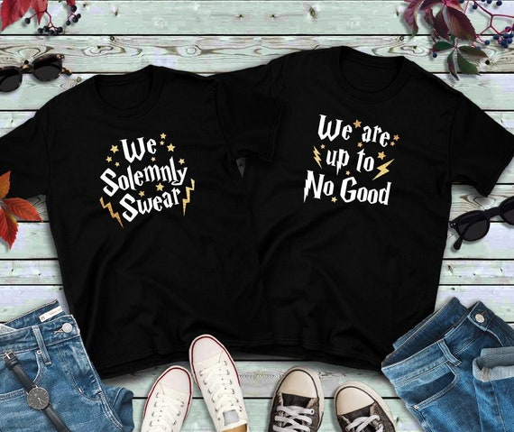 Couples shirts, We Solemnly Swear We Are Up To No Good GOLD, His and Hers Shirts, Wizarding Trip, Gift for her, universal, Honeymoon