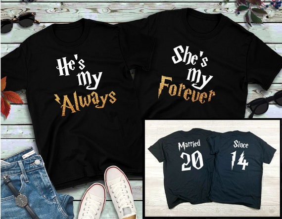 Couples shirts, Always Forever GOLD, His and Hers Shirts, Wizarding Trip, Gift for her, Gift for him, Honeymoon