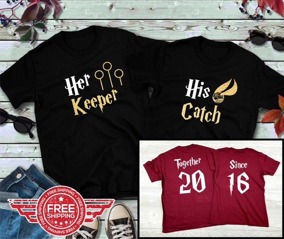 Couples shirts, His Catch Her Keeper GOLD, His and Hers Shirts, Wizarding Trip, Gift for her, Gift for him, universal, Honeymoon