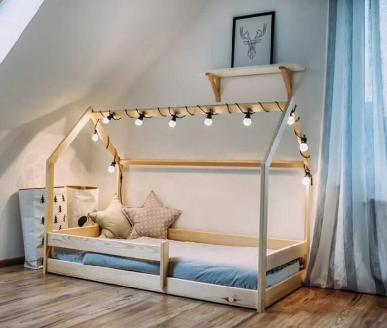 Lit cabane Montessori 160x80cm lit bébé, fille et garçon avec barrières