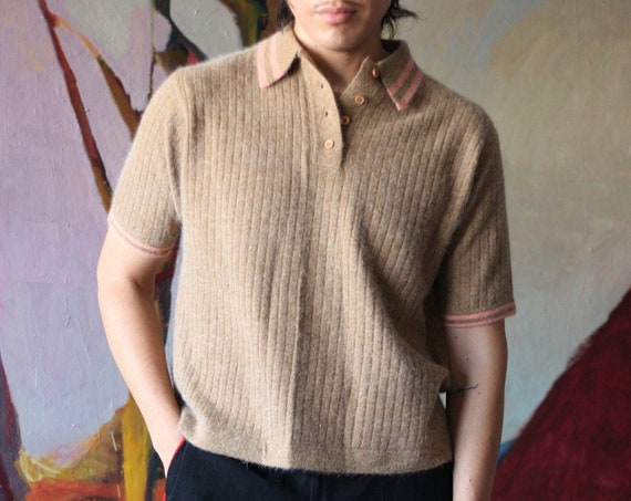 Softest UNISEX late 60's sand tan and strawberry cream stripe luxury angora and wool boxy short collar short sleeve sweater blouse top shirt