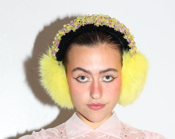 Fluffiest 1980's handmade neon yellow rabbit fur velvet and embellished beaded warm cozy earmuffs ear warmers hat beanie accessory