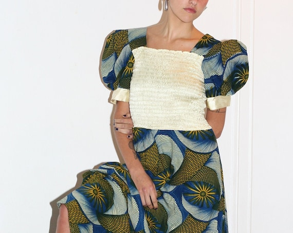 Celestial 70s blue green sun African block print cotton textile satiny white ruched fitted bodice puff balloon sleeve square neck maxi dress