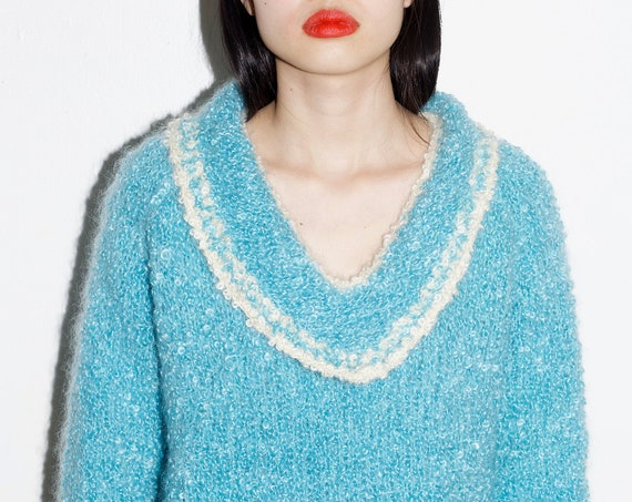 OOAK handmade 60's sky blue white thick boucle hand knit curly knit wool mohair pocket boxy flattering chic pullover jumper sweater
