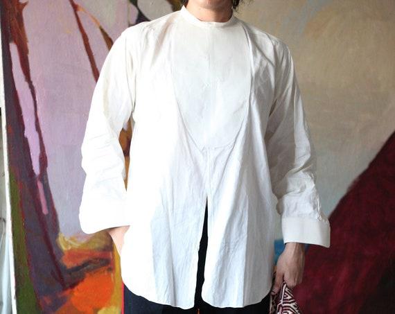 Unique UNISEX RARE vintage antique Victorian stark white cotton starched cuffs and chest split front tuxedo blouse shirt dress top