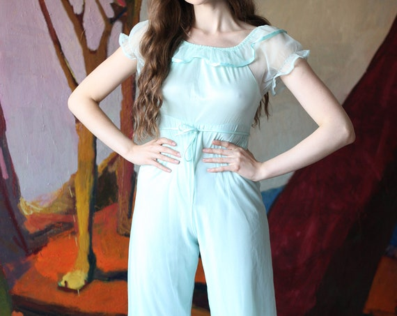 Darling 60's soft minty blue sheer genie balloon pant ruffle fitted flattering cropped pant empire waist jumpsuit romper playsuit catsuit