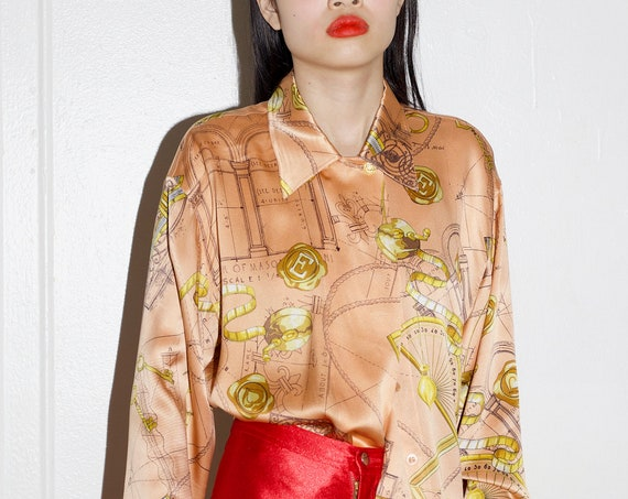 Lux ESCADA 1980's designer satin silk peachy tan shiny architectural print double collar button full sleeve wide flowing boxy blouse shirt