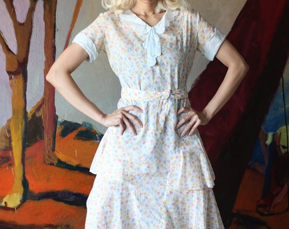 Darling RARE antique early 30's soft white floral cotton light blue collar ruffle tiered hip open waist dress frock tunic