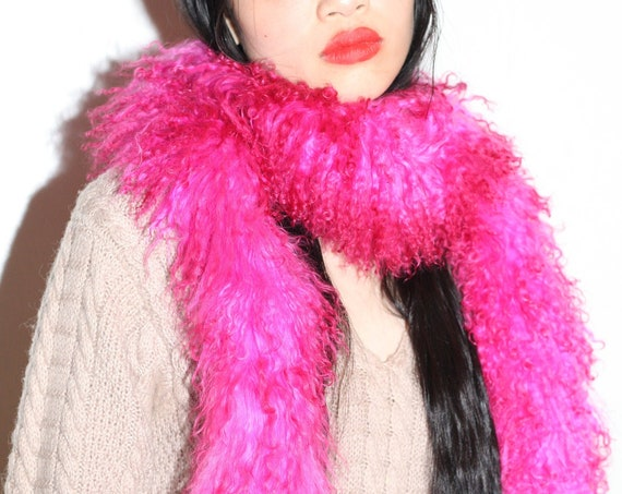 Vibrant 60's bright fuchsia pink dyed curly hair Mongolian sheepskin shearling fluffy soft chic minimal scarf boa neck warmer