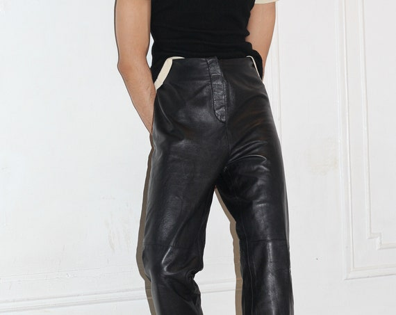 "Gorgeous luxury UNISEX 34"" 80's soft black calfskin leather high rise zip front straight leg minimal comfortable staple trouser pants slacks"