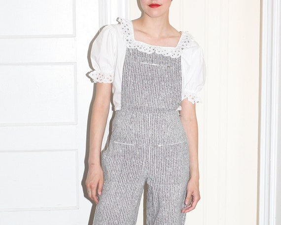 RARE MARIMEKKO late 70's Finland Scandinavian high quality white and grey pinstripe cotton fitted pinafore overall romper one piece