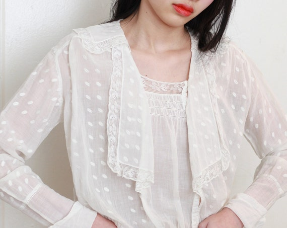 Ethereal antique Victorian / Edwardian semi-sheer white embroidered polka dot lace sailor collar caplet boxy cropped bodice top blouse shirt