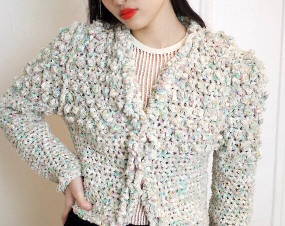 Unique early 80's fiber art bubblegum pom pom multicolored crochet ribbon avant cropped open front knitwear sweater jumper cardigan