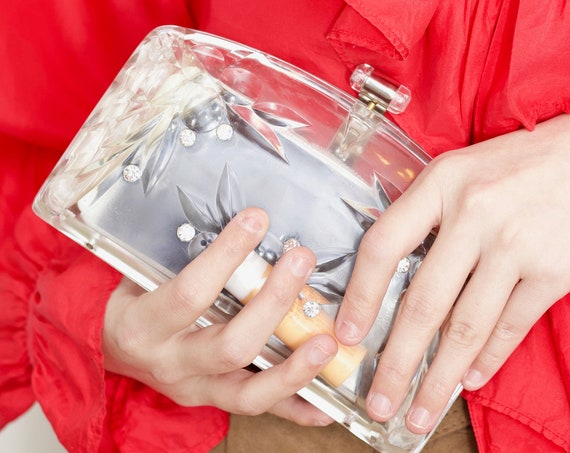 Sweetest RARE 50's clear transparent crystal cut plastic rhinestone top clasp oyster type handheld clutch sculptural purse bag handbag