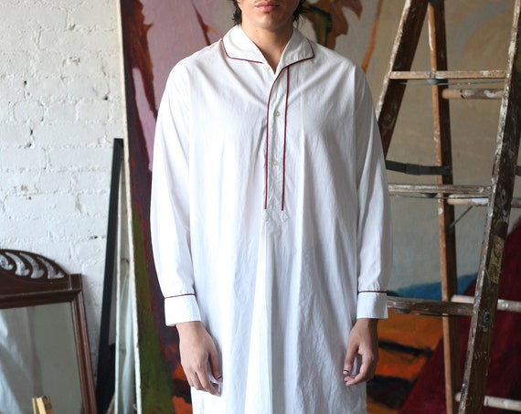 Pristine UNISEX RARE vintage antique 1930's stark white cotton red piping long sleeve chic long tunic blouse shirt dress top