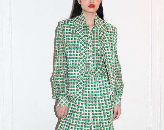 Pristine MALCOLM STARR RARE 70's designer green white plaid square pleated full skirt vest matching belt three piece co ord suit set dress