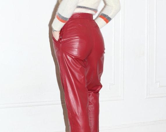 "Versatile 25"" vintage late 1970's blood red leather designer high waisted button side straight leg minimal staple trouser pants slacks"